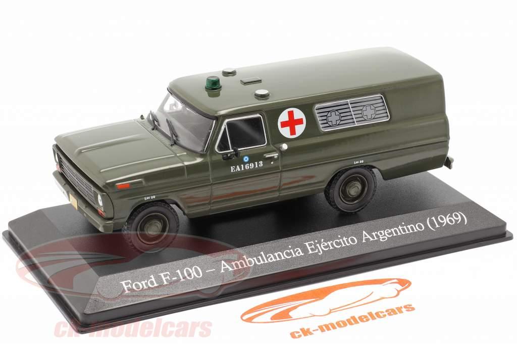 Ford F-100 Militaire ambulance Argentinië Bouwjaar 1969 olijf- 1:43 Altaya