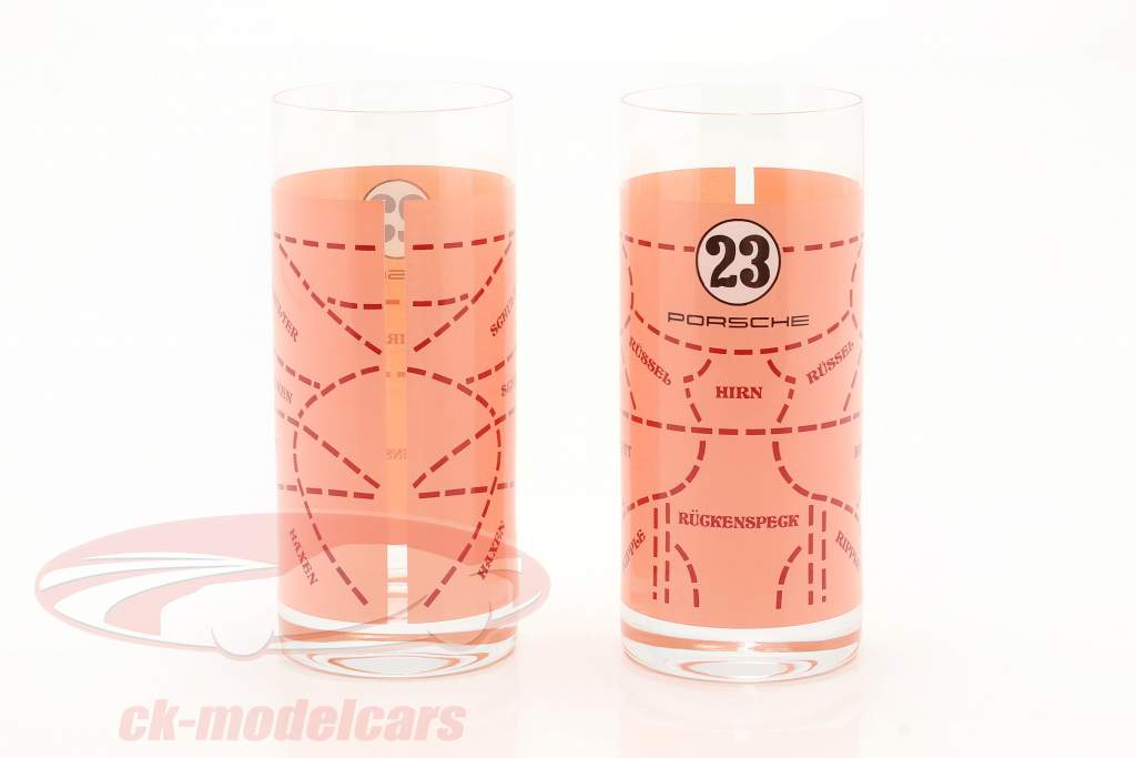 Vasos de trago largo 2 Piezas Porsche 917 Pink Pig