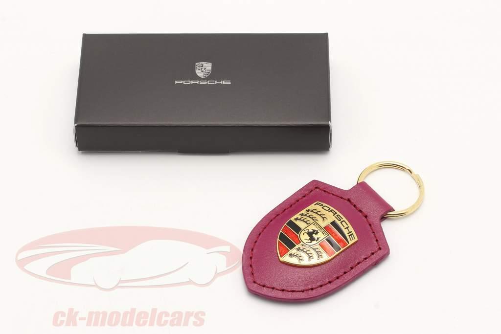 Leder-Schlüsselanhänger Porsche Wappen sternrubin