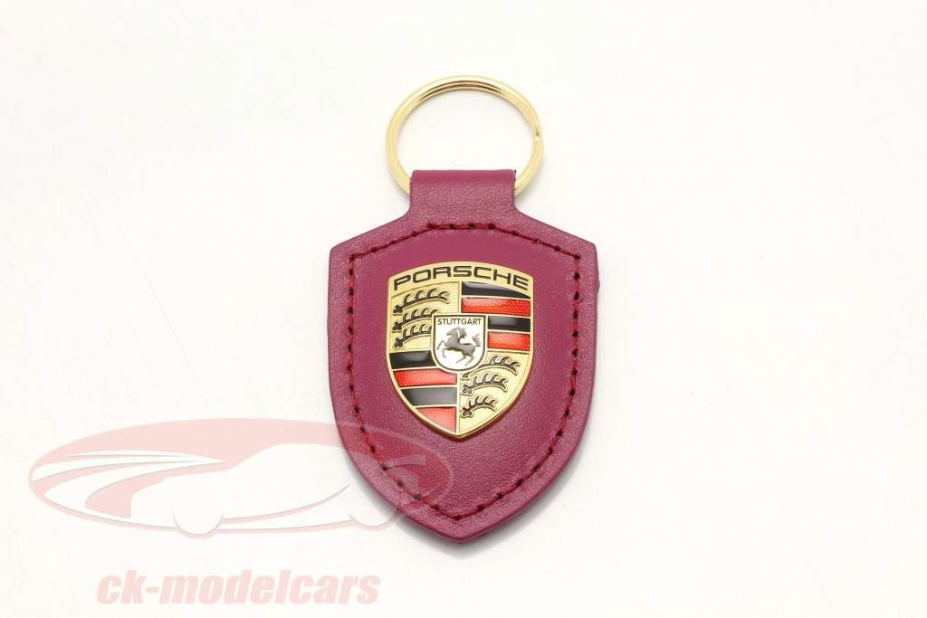 Porte-clés en cuir Porsche badge rubystar