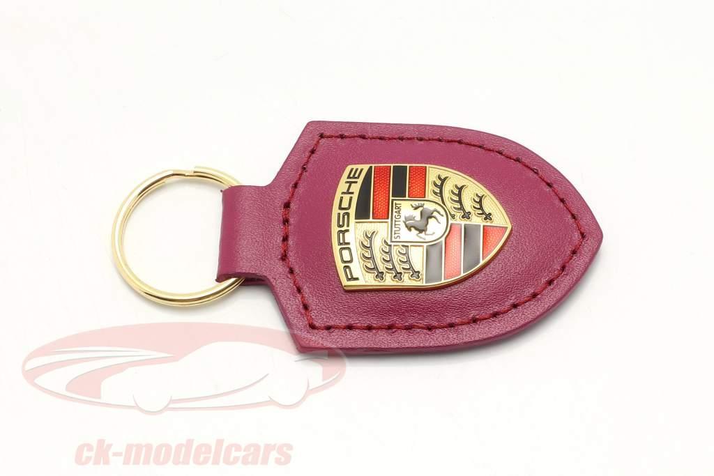 Leather keychain Porsche badge rubystar