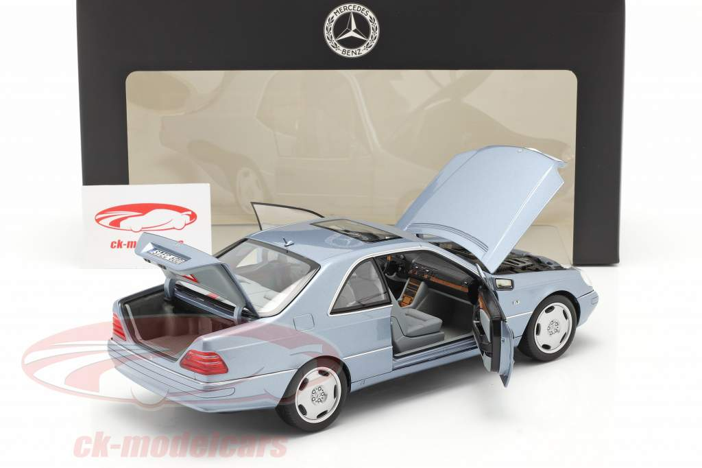 Mercedes-Benz CL 600 Coupe (C140) year 1996-1998 pearl blue metallic 1:18 Norev