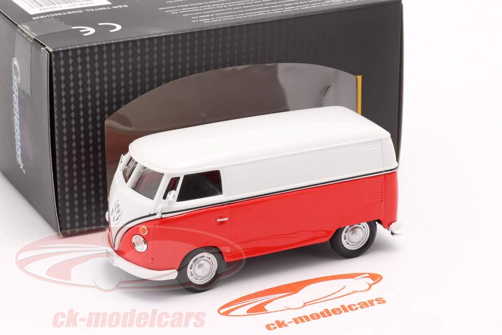 Volkswagen VW T1 Transporter weiß / rot / Emblem silber 1:43 Cararama