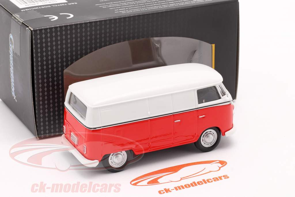 Volkswagen VW T1 Trasportatore bianca / rosso / emblema argento 1:43 Cararama