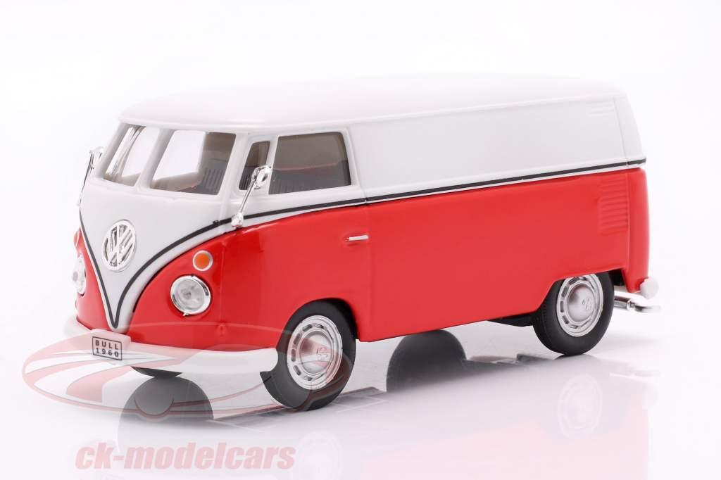 Volkswagen VW T1 Transportador blanco / rojo / emblema plata 1:43 Cararama