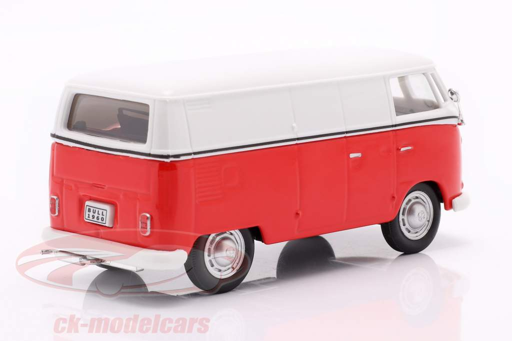 Volkswagen VW T1 Transportør hvid / rød / emblem sølv 1:43 Cararama