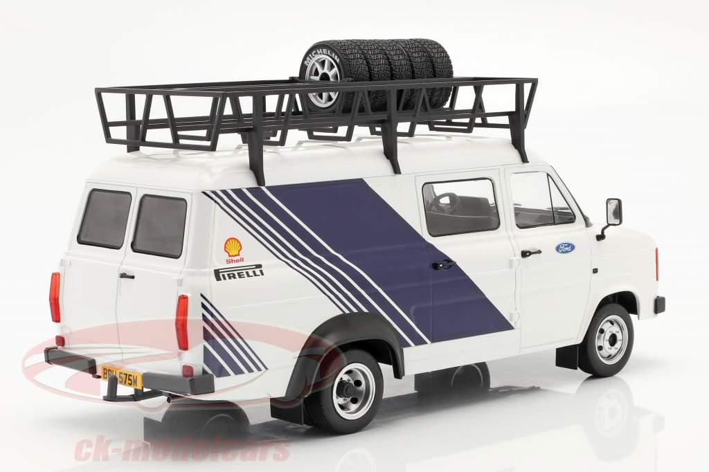 Ford Transit MK II Van Team Ford Wit / blauw 1:18 Ixo
