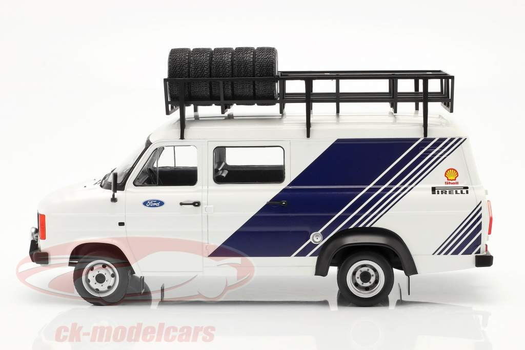 Ford Transit MK II Van Team Ford hvid / blå 1:18 Ixo