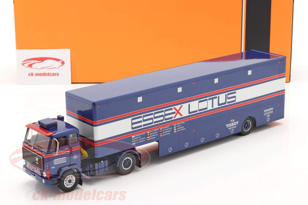 Volvo F89 Race Car Transporter Essex Lotus azul / plata / rojo 1:43 Ixo