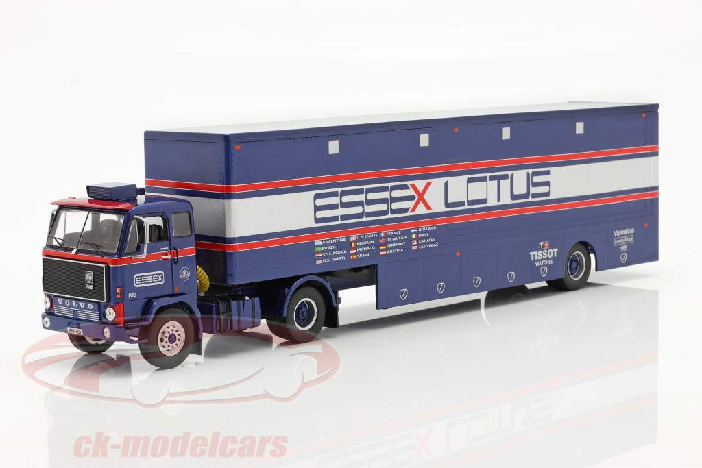 Volvo F89 Race Car Transporter Essex Lotus blauw / zilver / rood 1:43 Ixo
