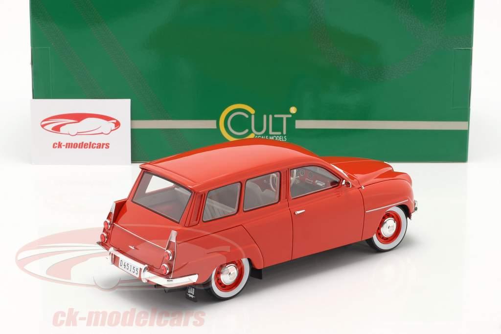 Saab 95 Bouwjaar 1963 rood 1:18 Cult Scale