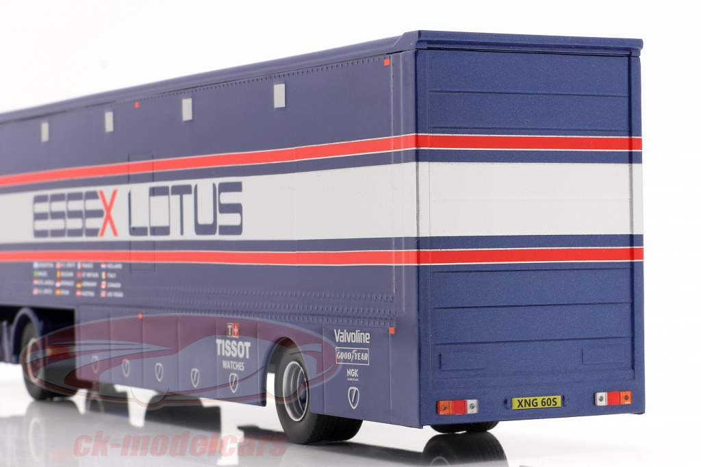 Volvo F89 Race Car Transporter Essex Lotus bleu / argent / rouge 1:43 Ixo