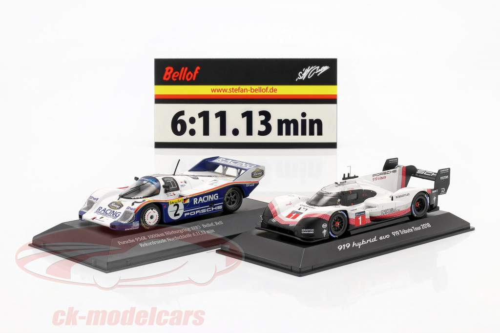 2-Car Set Porsche 919 Hybrid & Porsche 956K Record lap Nürburgring 2018 / 1983 1:43 Spark, CMR