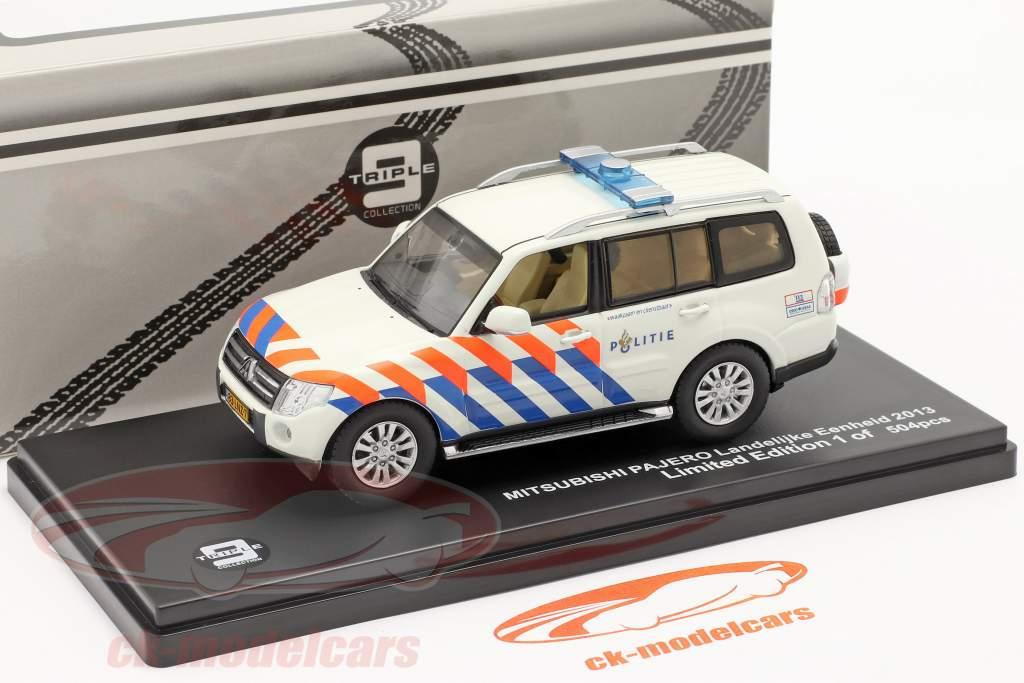 Mitsubishi Pajero Politie Holanda 2013 branco / laranja / azul 1:43 Triple 9