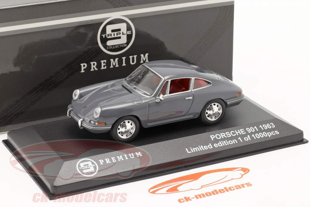 Porsche 901 Jaar 1963 bluegray 1:43 Triple9