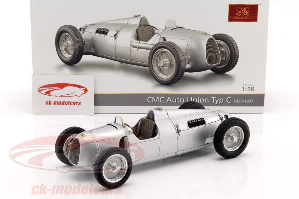 Auto Union Typ C Bouwjaar 1936/37 zilver 1:18 CMC