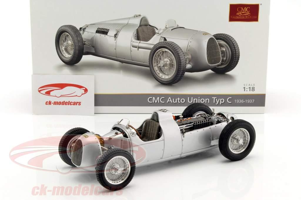 Auto Union Typ C Opførselsår 1936/37 sølv 1:18 CMC