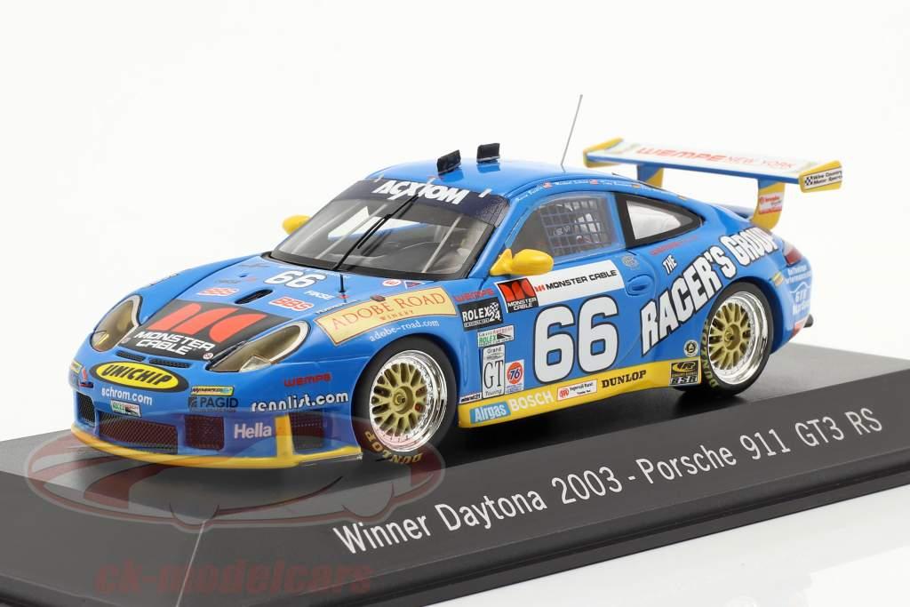 Porsche 911 GT3 RS #66 winnaar 24h Daytona 2003 Buckler, Schrom, Bernhard, Bergmeister 1:43 Spark