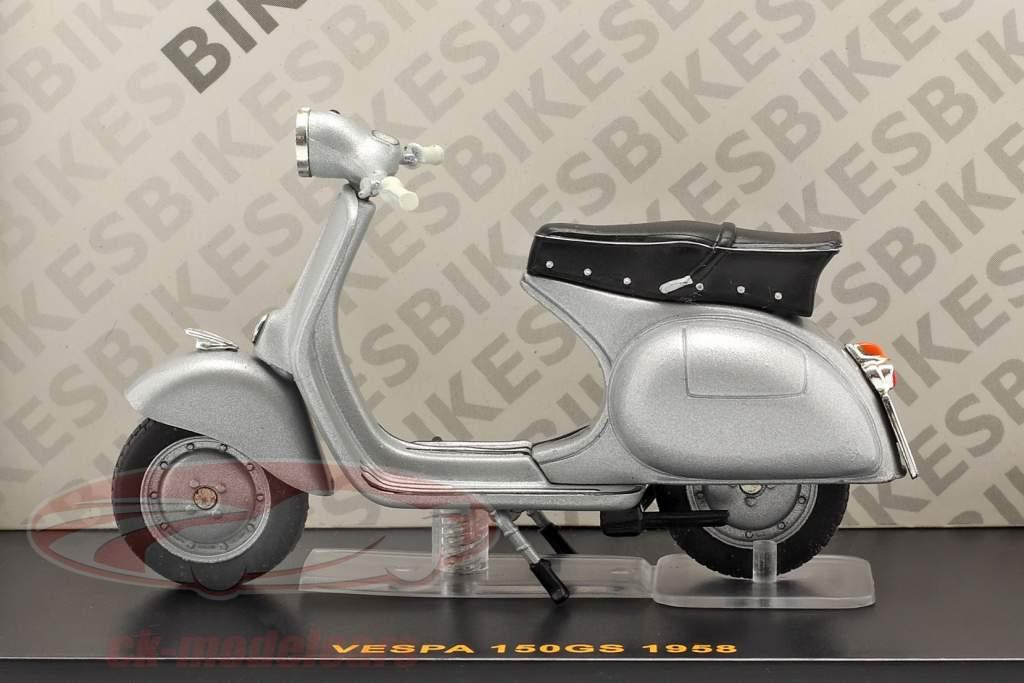 Vespa 150GS año 1958 plata 1:24 Ixo