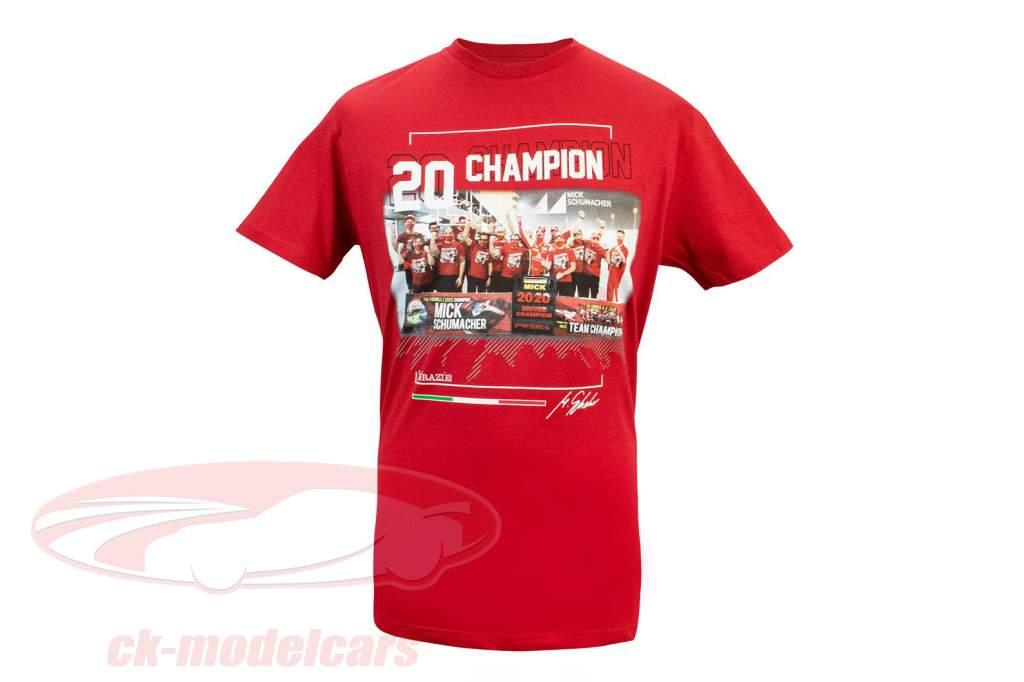 Mick Schumacher T-Shirt formel 2 Verdensmester 2020 rød