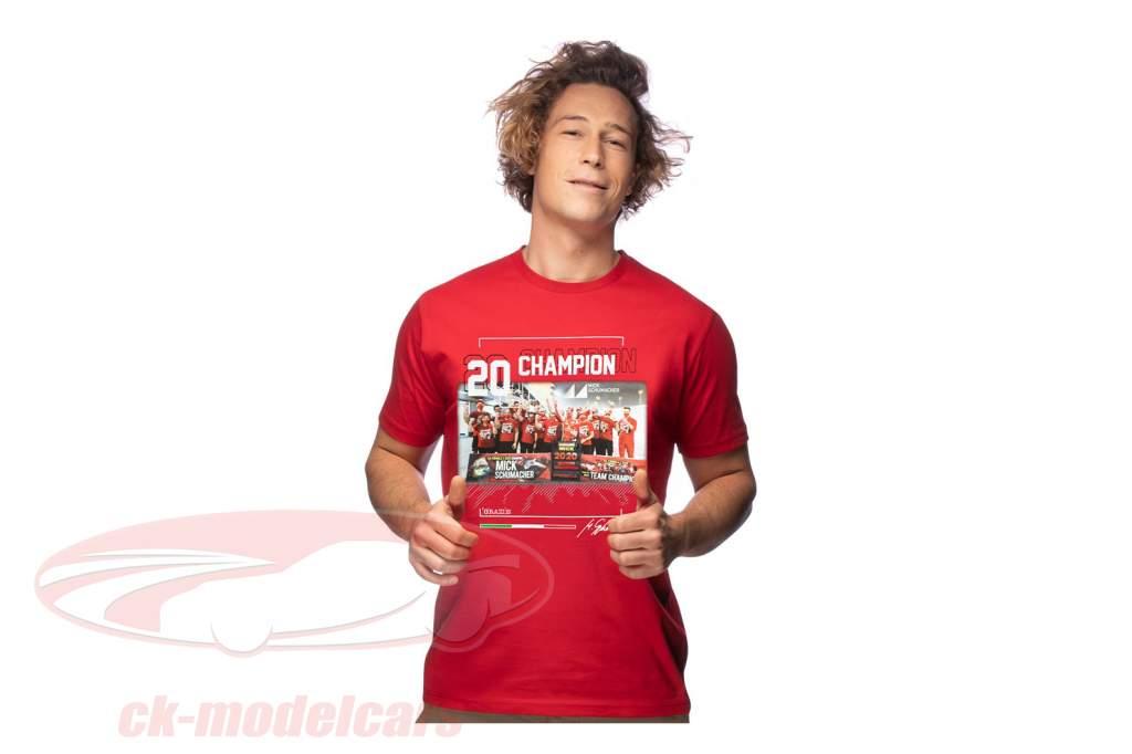 Mick Schumacher T-Shirt Fórmula 2 Campeão mundial 2020 vermelho
