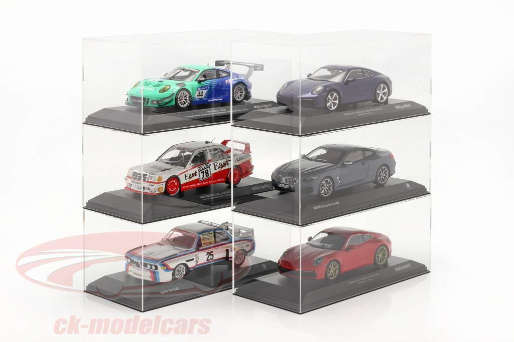 Hochwertige Acryl-Vitrine für Modellautos im Maßstab 1:18 mit Sockel SAFE