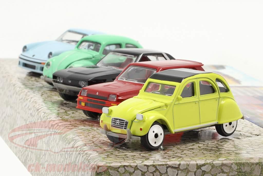 5-Car Set Vintage Paquete de regalo 1:64 Majorette