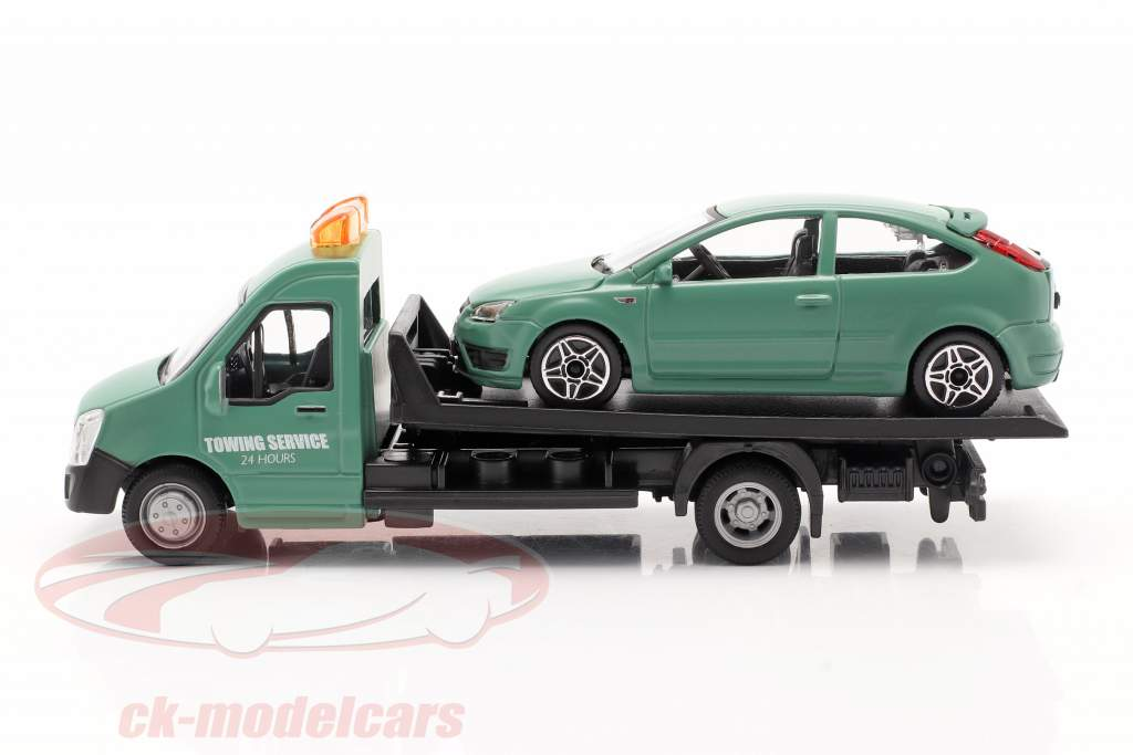 Ford Focus ST avec transporteur à plat vert foncé 1:43 Bburago