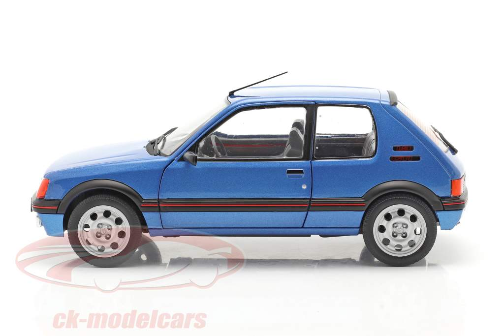 Peugeot 205 GTi 1.9L Mk1 Año de construcción 1988 azul metálico 1:18 Solido