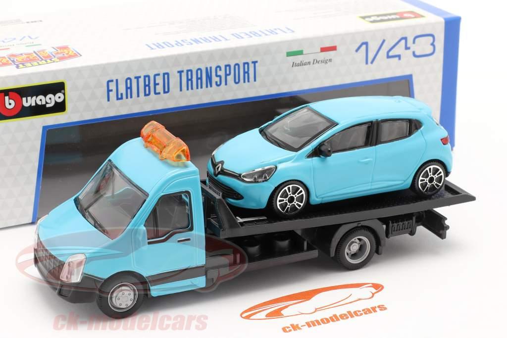 Renault Clio avec transporteur à plat bleu clair 1:43 Bburago