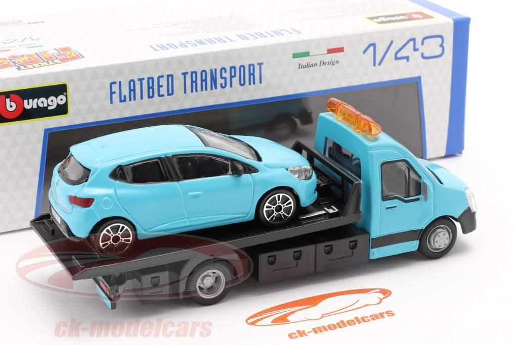 Renault Clio com transportador de mesa azul claro 1:43 Bburago