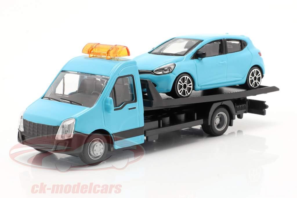 Renault Clio con transportador de superficie plana azul claro 1:43 Bburago