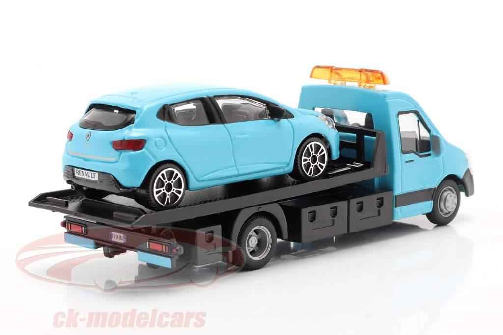 Renault Clio With Flatbed transporter light blue 1:43 Bburago