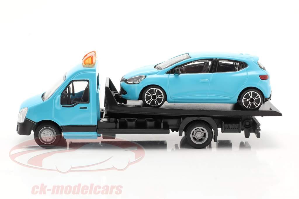 Renault Clio met flatbed transporter lichtblauw 1:43 Bburago