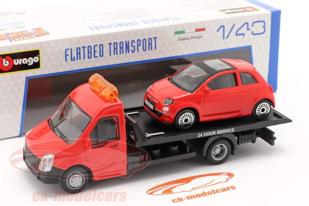 Fiat 500 anno 2007 con transporter Flatbed rosso 1:43 Bburago
