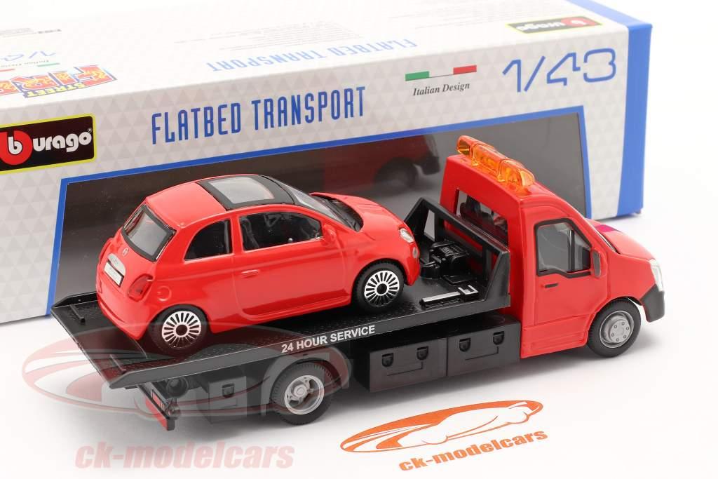Fiat 500 ano 2007 com transportador de mesa vermelho 1:43 Bburago