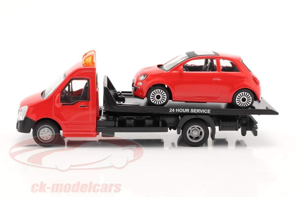 Fiat 500 año 2007 con transportador de superficie plana rojo 1:43 Bburago