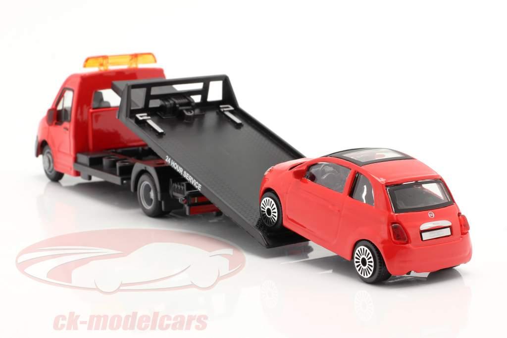 Fiat 500 år 2007 med Flatbed transportør rød 1:43 Bburago