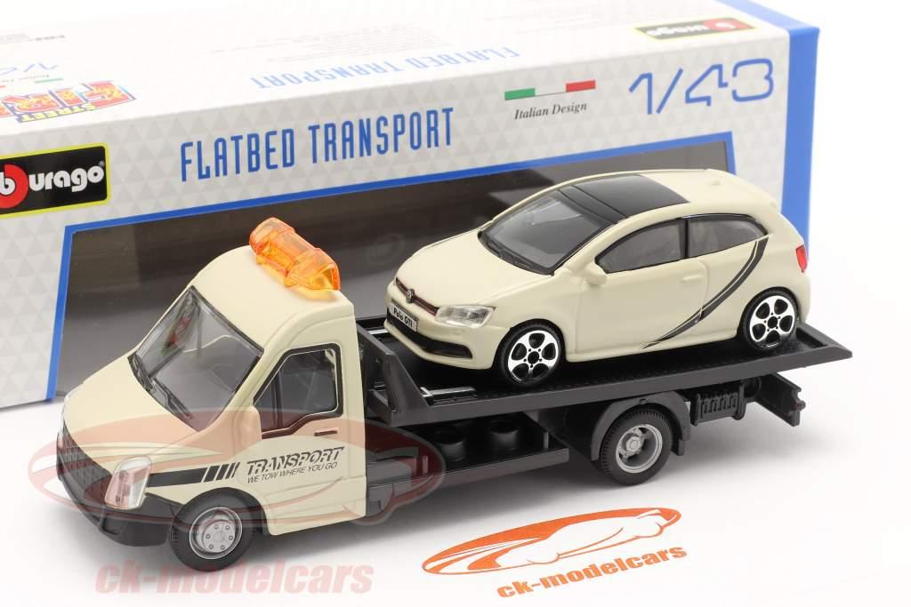 VW Polo GTI com transportador de mesa creme branco 1:43 Bburago