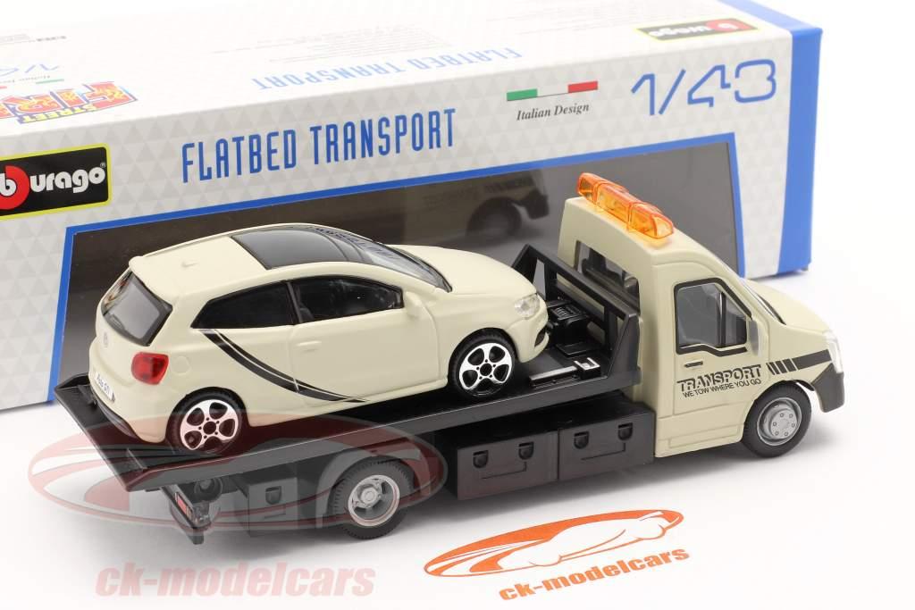 VW Polo GTI med Flatbed transportør creme hvid 1:43 Bburago