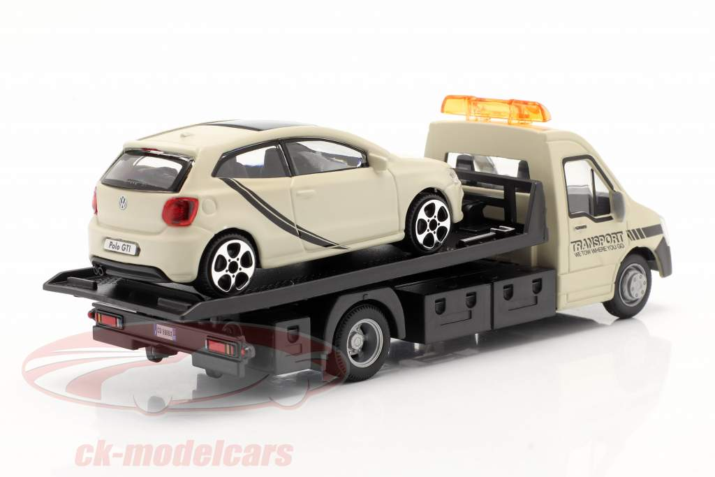 VW Polo GTI met flatbed transporter crème wit 1:43 Bburago