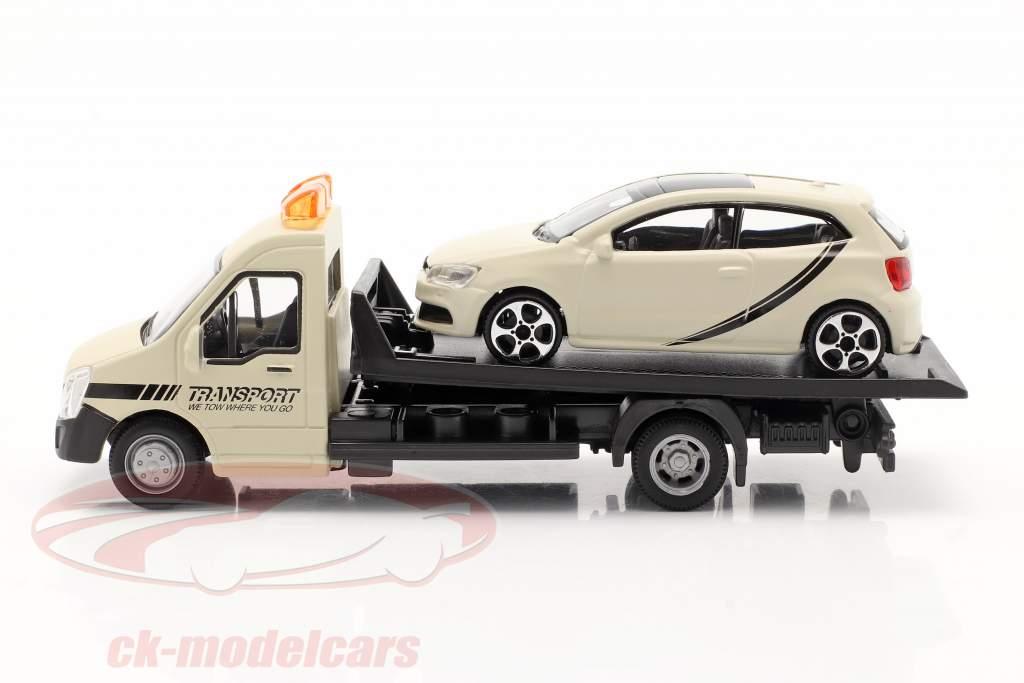 VW Polo GTI With Flatbed transporter cream white 1:43 Bburago