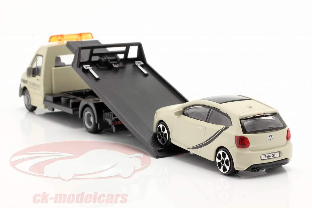 VW Polo GTI mit Flatbed-Transporter creme weiß 1:43 Bburago