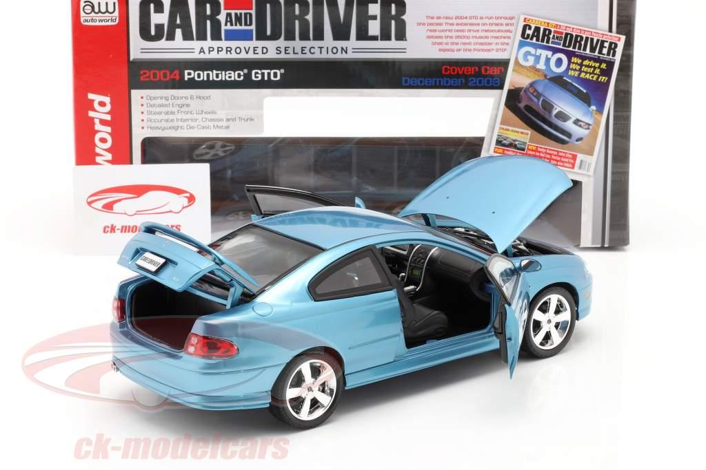 Pontiac GTO Coupe jaar 2004 blauw metalen 1:18 autoworld