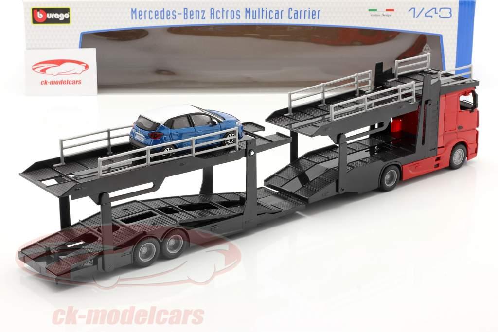 Mercedes-Benz Actros autotransporter med Renault Captur rød / sort / blå / hvid 1:43 Bburago