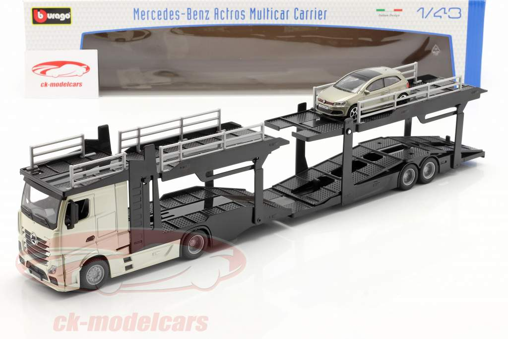 Mercedes-Benz Actros car transporter with VW Polo GTI gold / black / gray metallic 1:43 Bburago