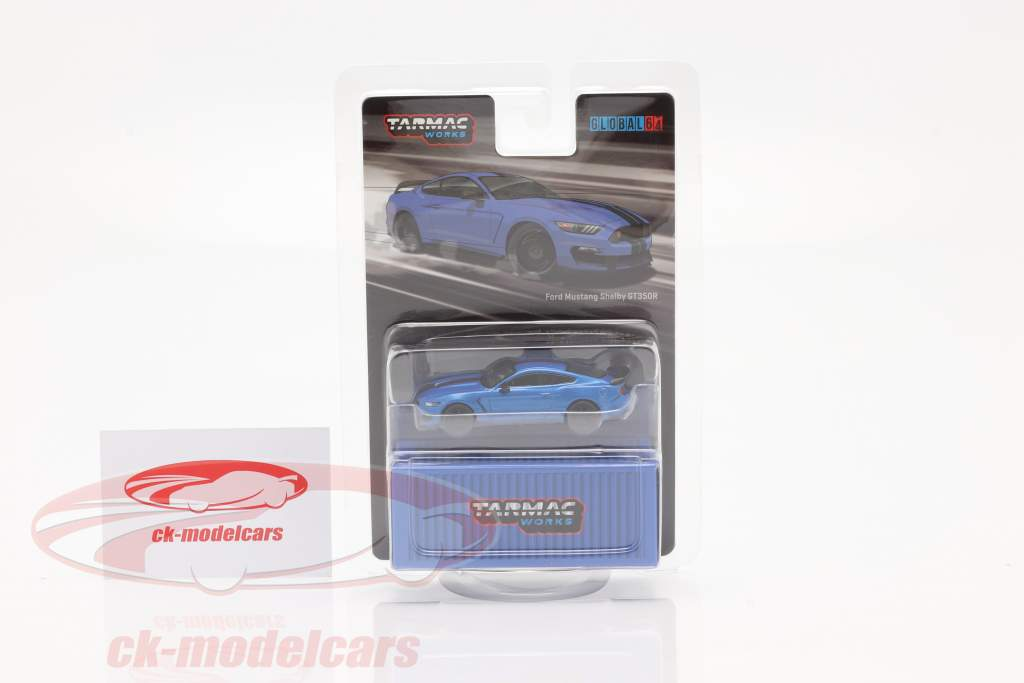 Ford Mustang Shelby GT350R blauw metalen 1:64 Tarmac Works