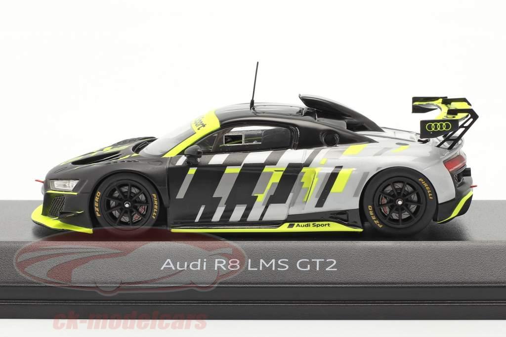 Audi R8 LMS GT2 Presentation Car negro / gris / amarillo 1:43 Spark