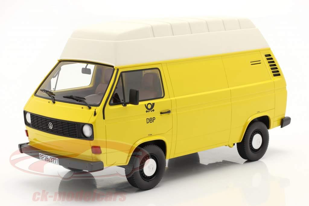 Volkswagen VW T3 teto alto Deutsche Bundespost ano 1979 amarelo 1:18 PremiumClassiXXs