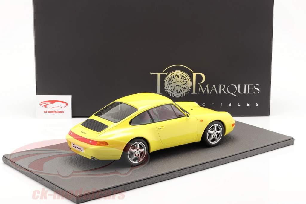 Porsche 911 (993) Carrera 2 Byggeår 1994 gul 1:12 TopMarques